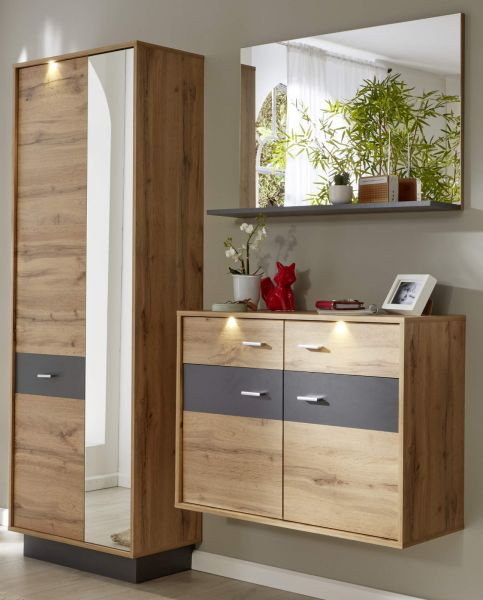 garderobe coast wotan eiche dekor und grau 3 teilig. Black Bedroom Furniture Sets. Home Design Ideas