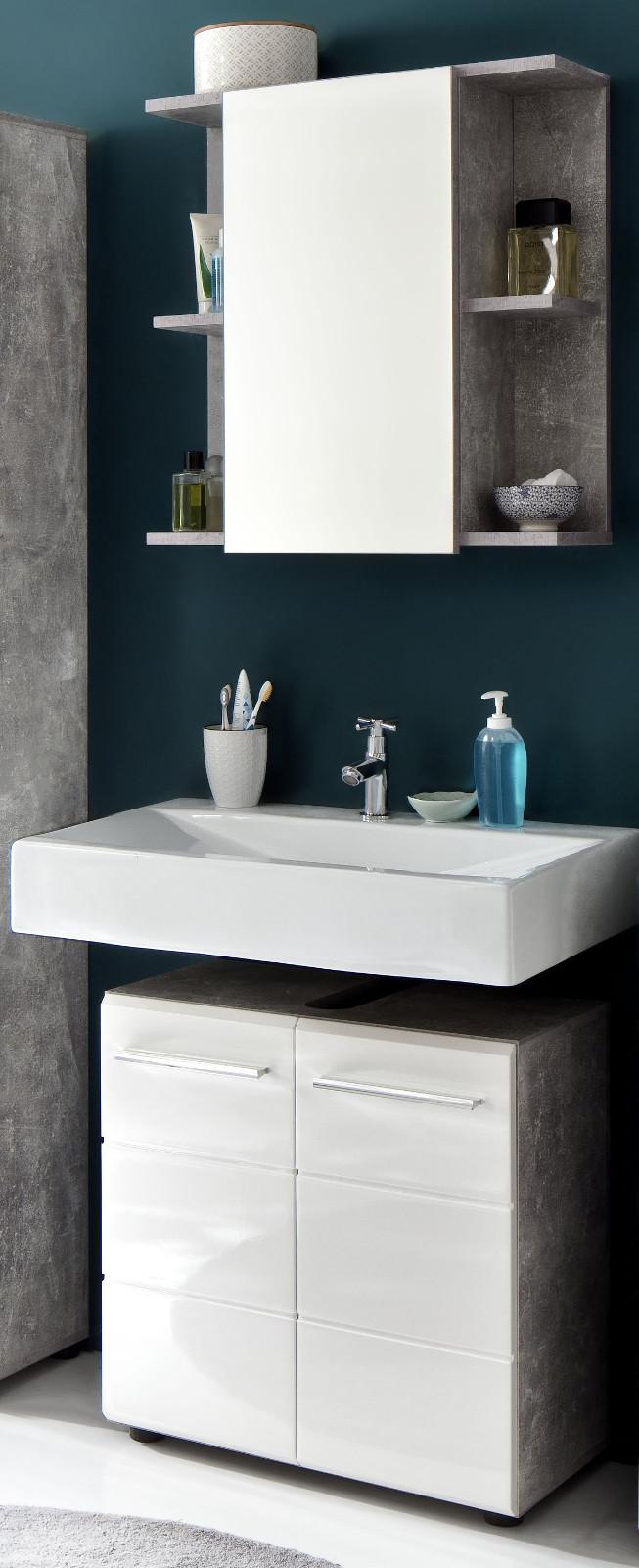 badm bel set nano wei hochglanz und stone grau 2 tlg. Black Bedroom Furniture Sets. Home Design Ideas