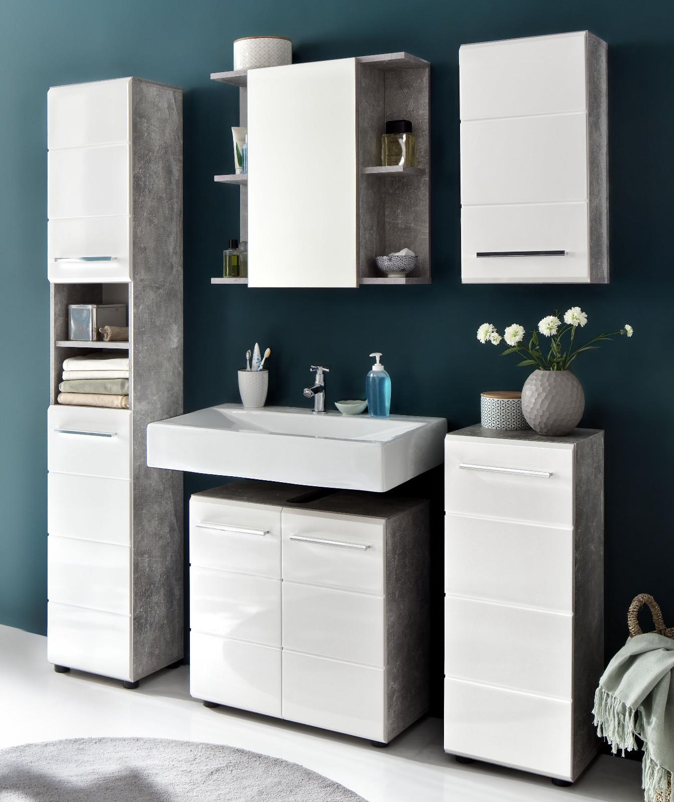 bad hochschrank nano wei hochglanz und stone grau. Black Bedroom Furniture Sets. Home Design Ideas