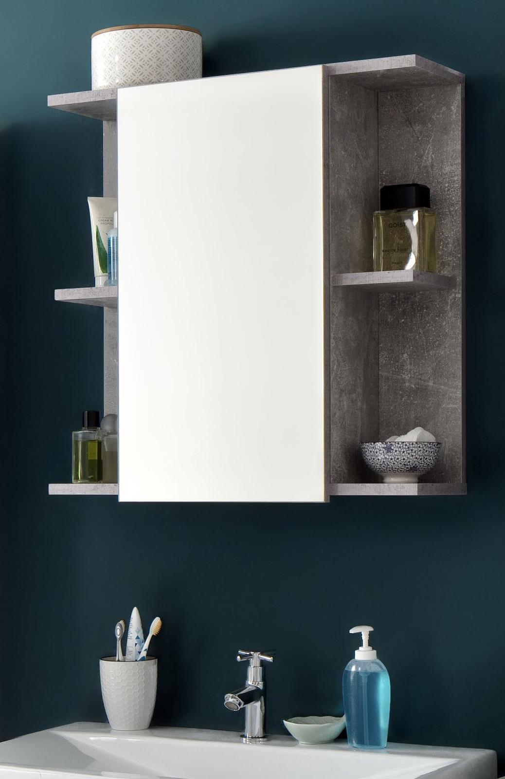 Bad spiegelschrank nano wei hochglanz und stone grau for Design bad spiegelschrank