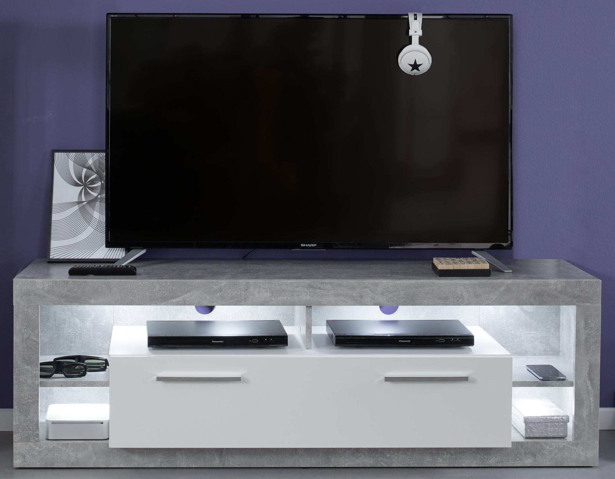 Tv lowboard design weiß  TV-Lowboard Rock weiß Hochglanz und Stone 150 x 48 cm