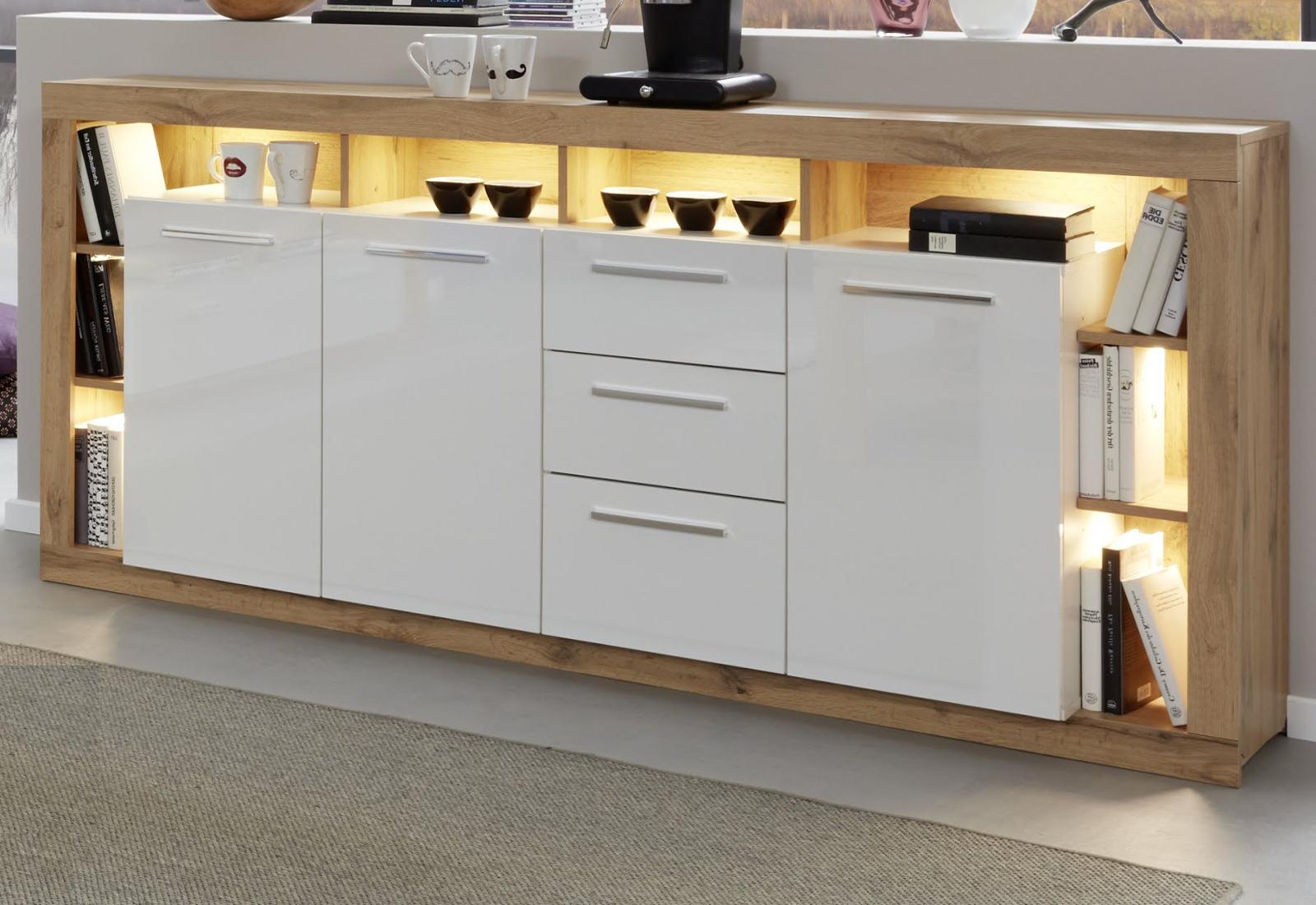 sideboard kommode wei hochglanz eiche anrichte breite 200. Black Bedroom Furniture Sets. Home Design Ideas