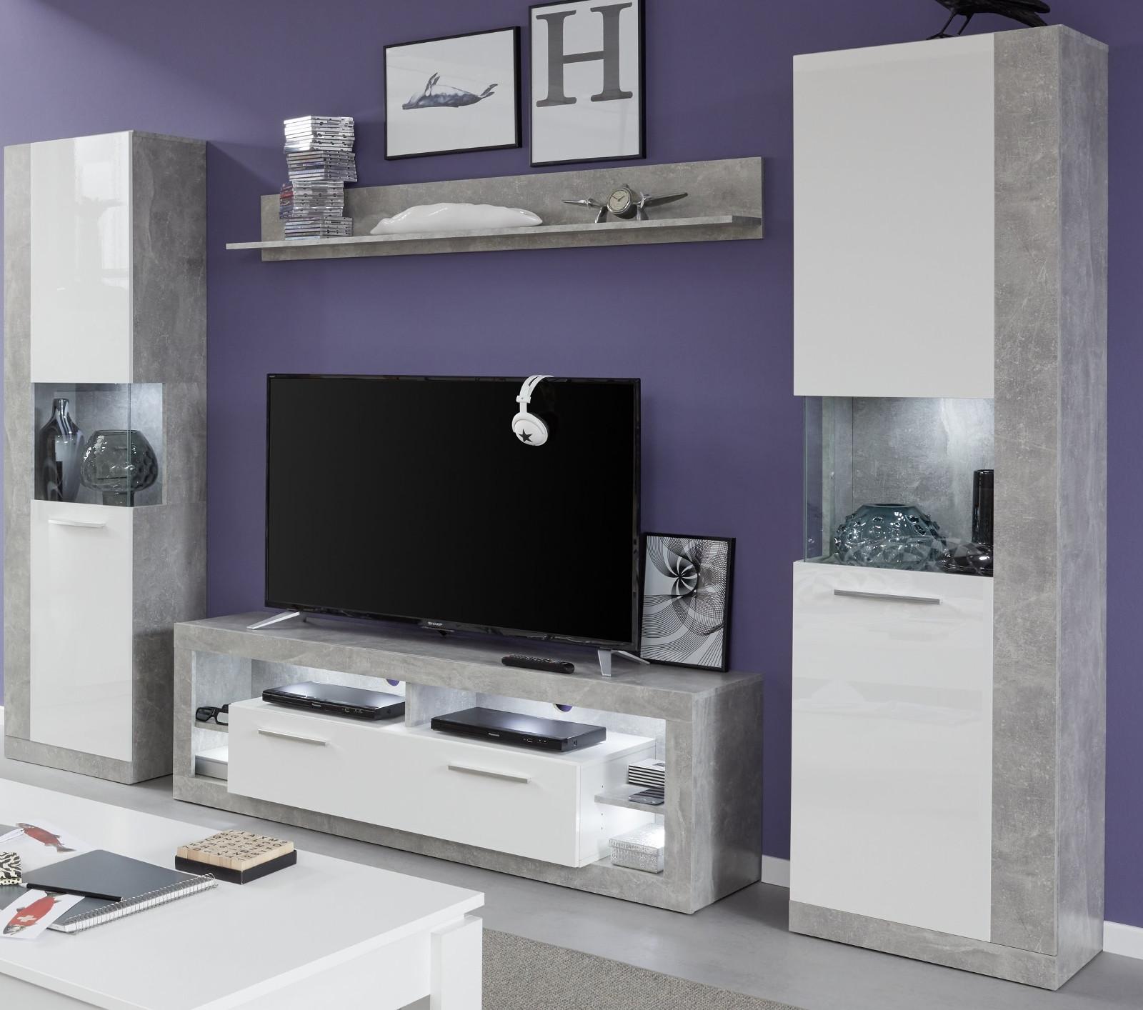 Wohnwand Rock Weiß Hochglanz Und Stone Grau 290x186 Cm