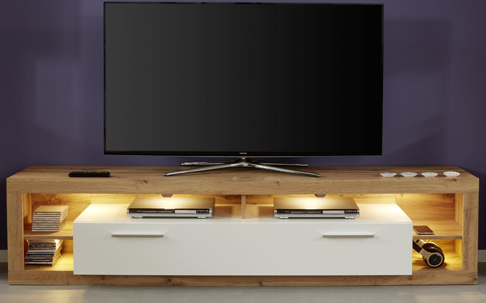 tv lowboard rock wei hochglanz und wotan eiche 200 cm. Black Bedroom Furniture Sets. Home Design Ideas