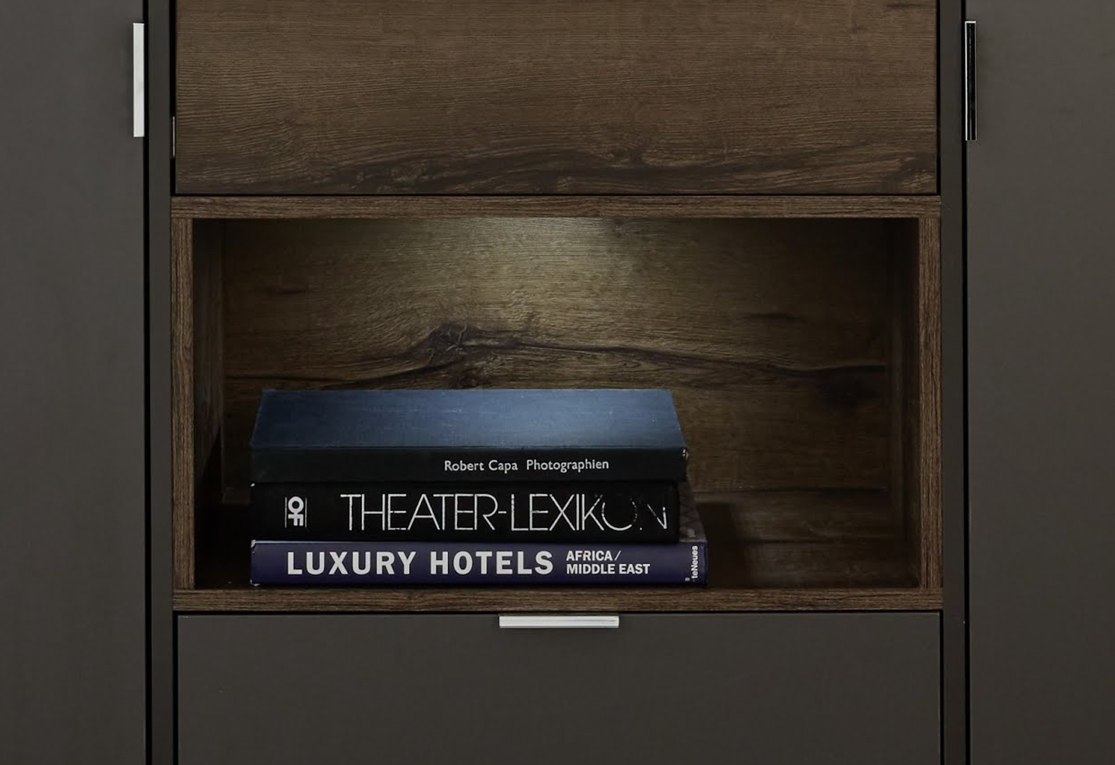 vitrinenschrank atlanta terra grau monastary oak. Black Bedroom Furniture Sets. Home Design Ideas