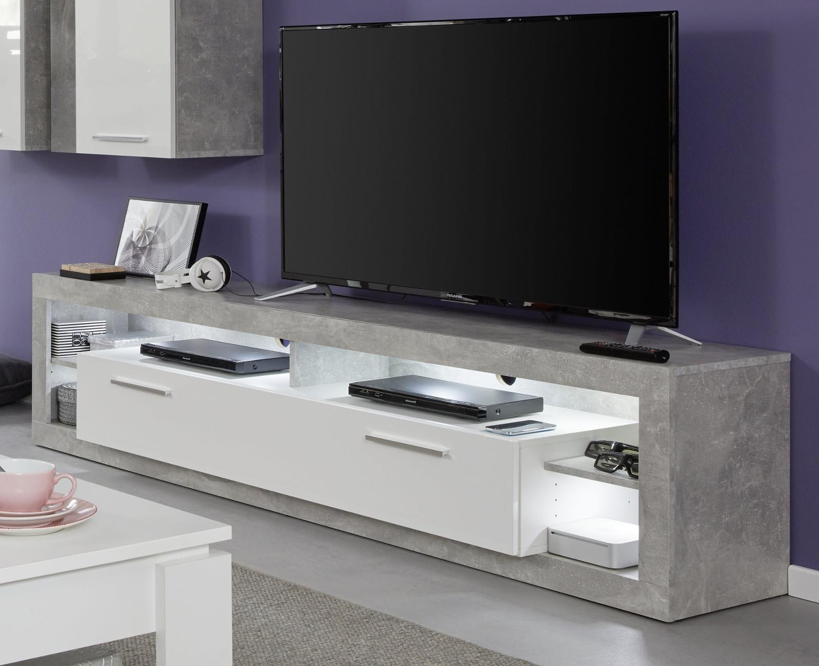 tv lowboard rock wei hochglanz und stone design 200 cm. Black Bedroom Furniture Sets. Home Design Ideas