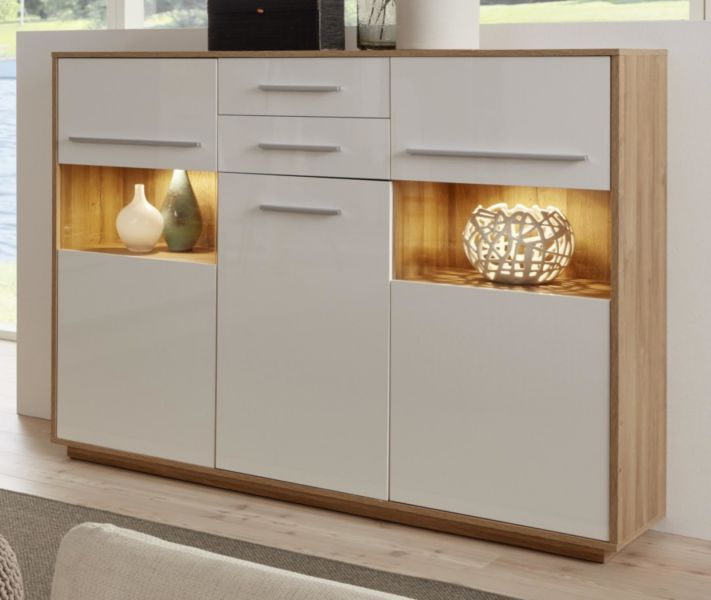 Highboard Kuba In Weiss Glanz Und Alteiche