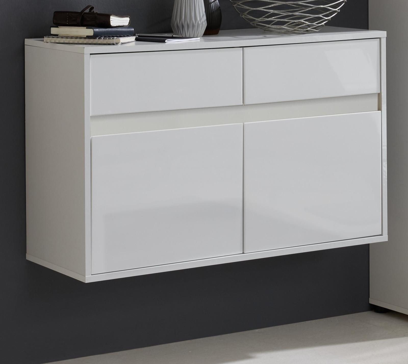 schuhschrank sol hochglanz wei und matt wei 97x60 cm. Black Bedroom Furniture Sets. Home Design Ideas