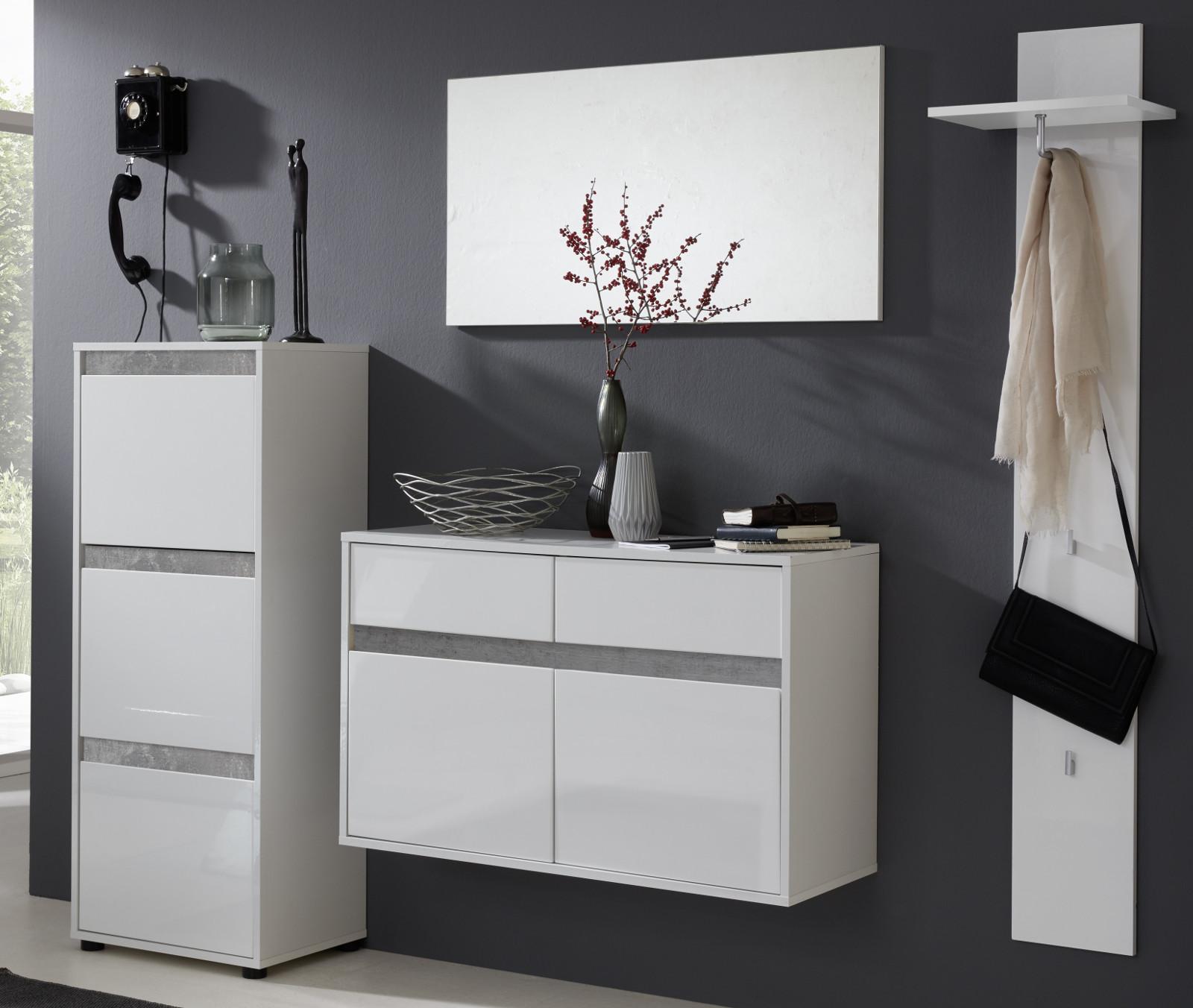 schuhschrank sol hochglanz wei und grau 97x60 cm. Black Bedroom Furniture Sets. Home Design Ideas