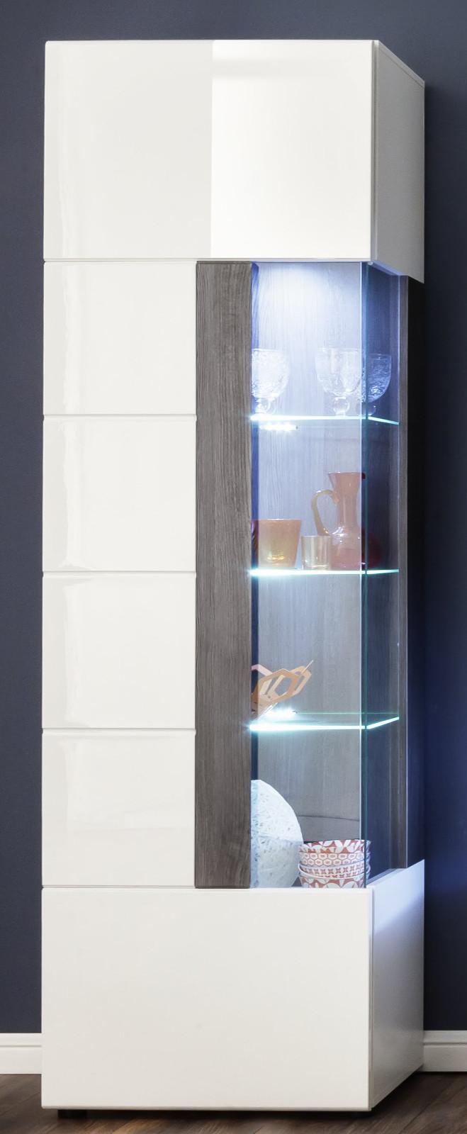 vitrine tokyo in hochglanz wei und grau sardegna. Black Bedroom Furniture Sets. Home Design Ideas