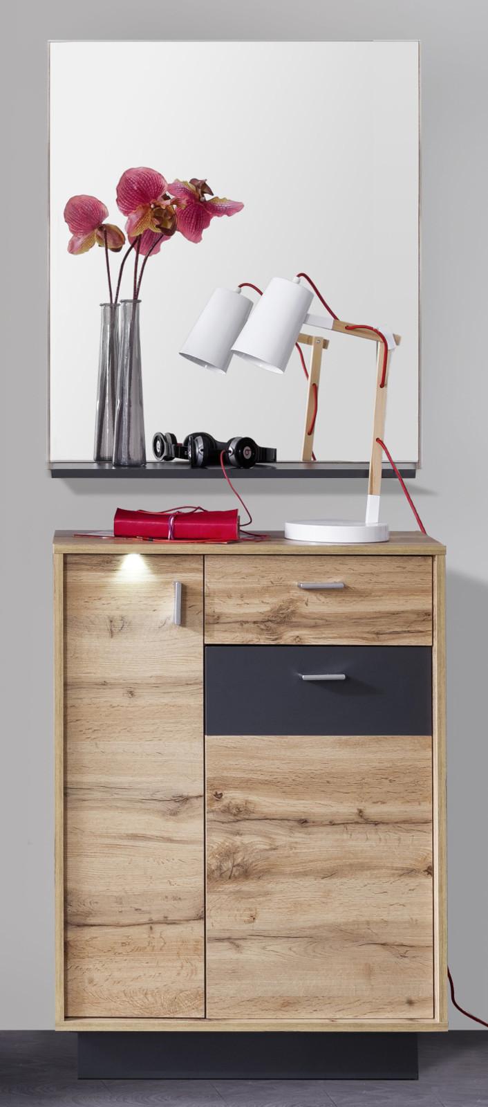 Garderobe coast wotan eiche dekor und grau 2 teilig for Garderoben set mit spiegel
