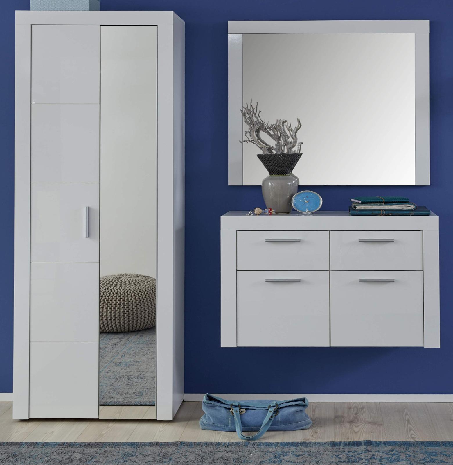 garderobenset kito 3 teilig hochglanz wei. Black Bedroom Furniture Sets. Home Design Ideas