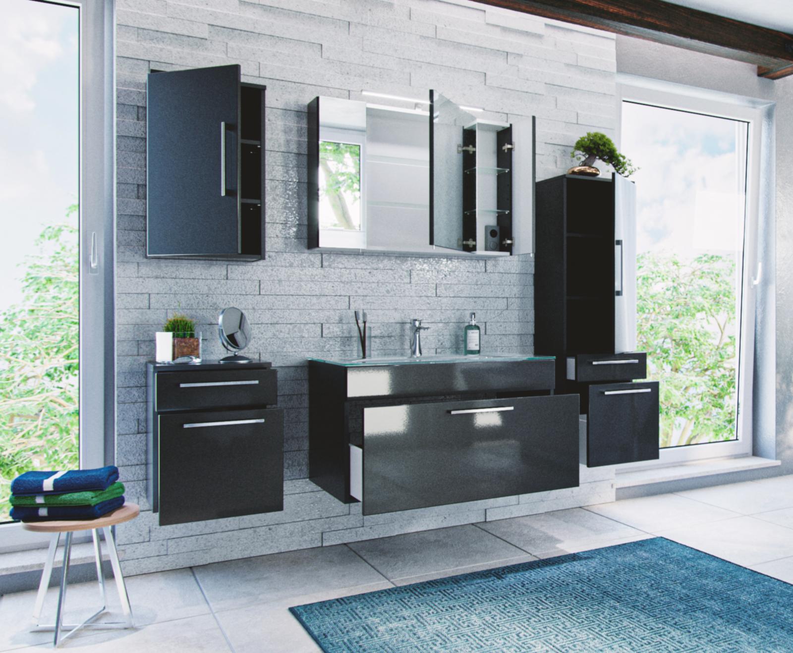 badm bel set heron 7 teilig mit glaswaschbecken. Black Bedroom Furniture Sets. Home Design Ideas