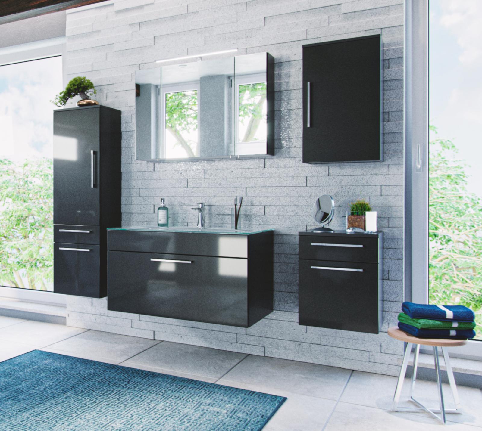 bad hochschrank heron hochglanz anthrazit. Black Bedroom Furniture Sets. Home Design Ideas