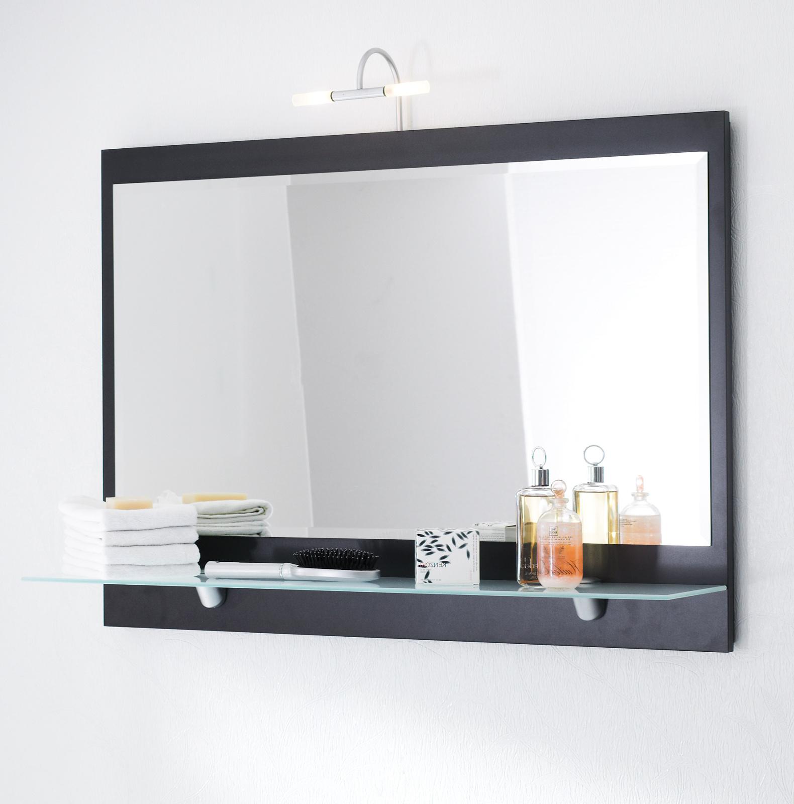Badezimmer Spiegel Heron In Anthrazit Mit Ablage Und Inkl Led Aufbauleuchte Badspiegel 90 X 68 Cm Laonda