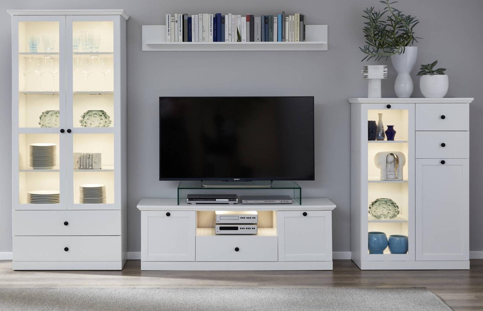 wohnwand baxter in wei 4 teilig. Black Bedroom Furniture Sets. Home Design Ideas