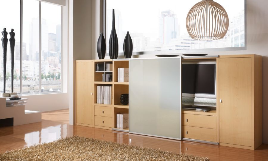 sideboard kommode ahorn mit tv fach und schiebet r. Black Bedroom Furniture Sets. Home Design Ideas