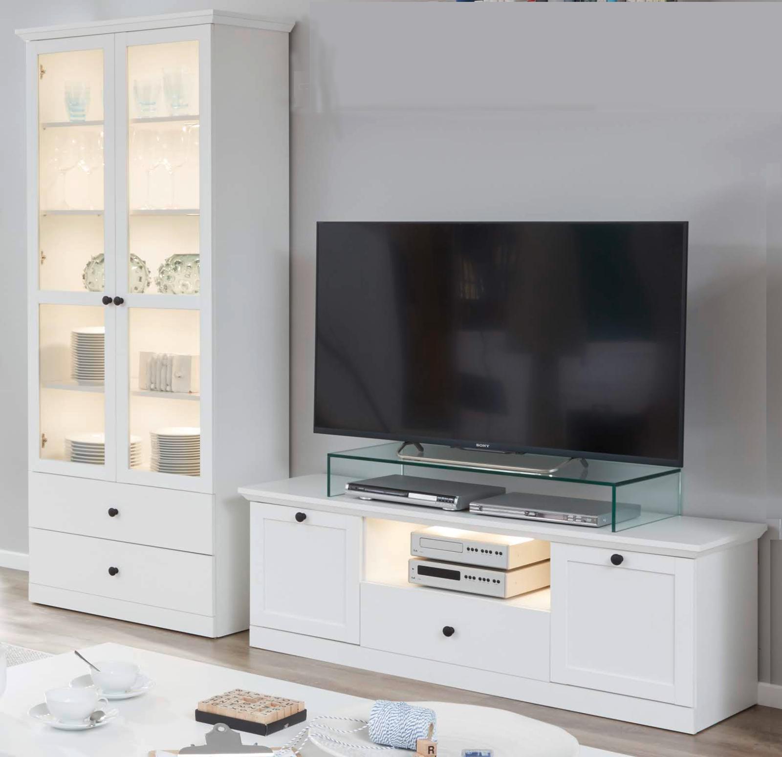 Mobel Wohnwand Schrankwand Set In Weiss Landhaus Tv Lowboard