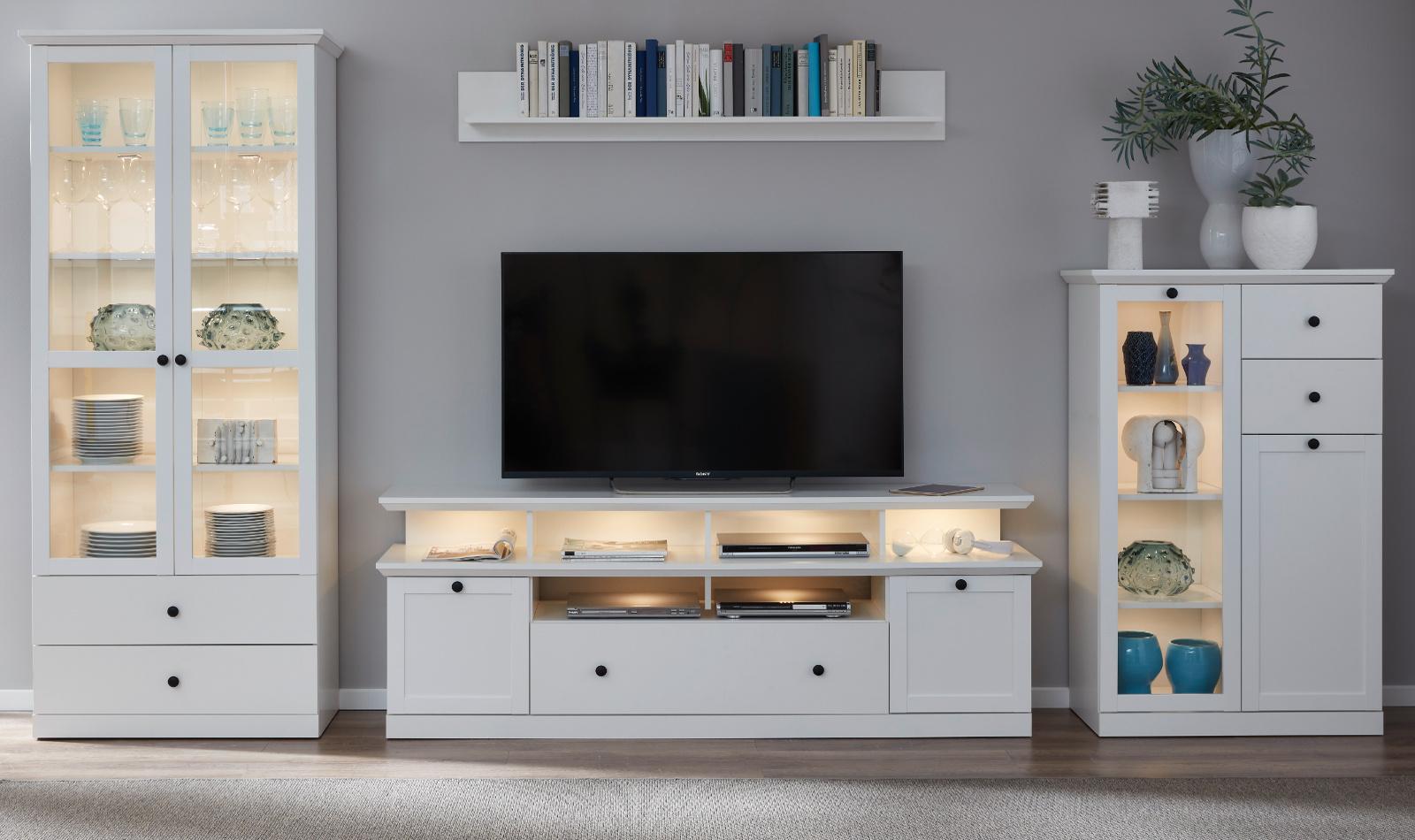 wohnwand baxter in wei 3 teilig. Black Bedroom Furniture Sets. Home Design Ideas