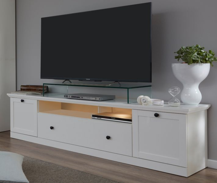 tv lowboard in wei landhaus tv unterteil fernsehtisch 177 cm board rack baxter ebay. Black Bedroom Furniture Sets. Home Design Ideas