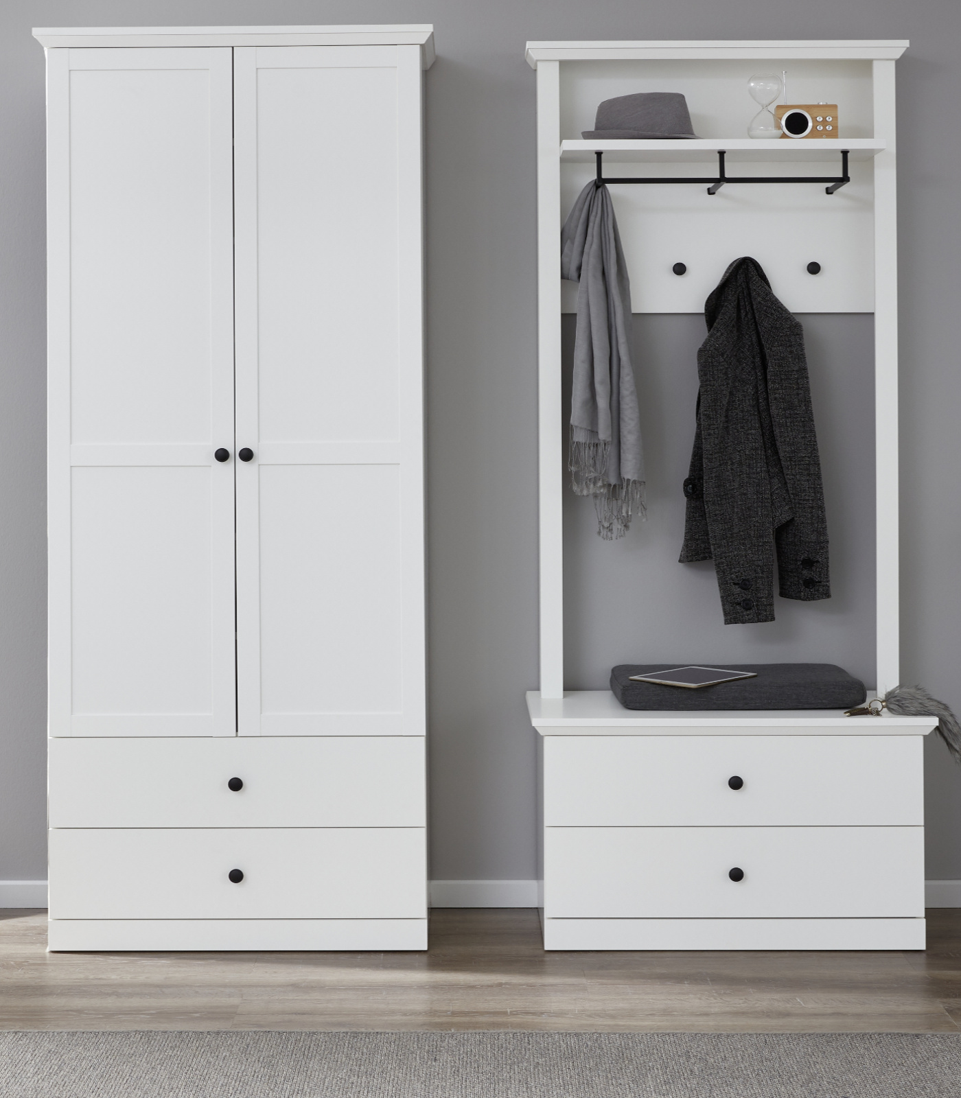 Garderobenset Baxter in weiß 3-teilig