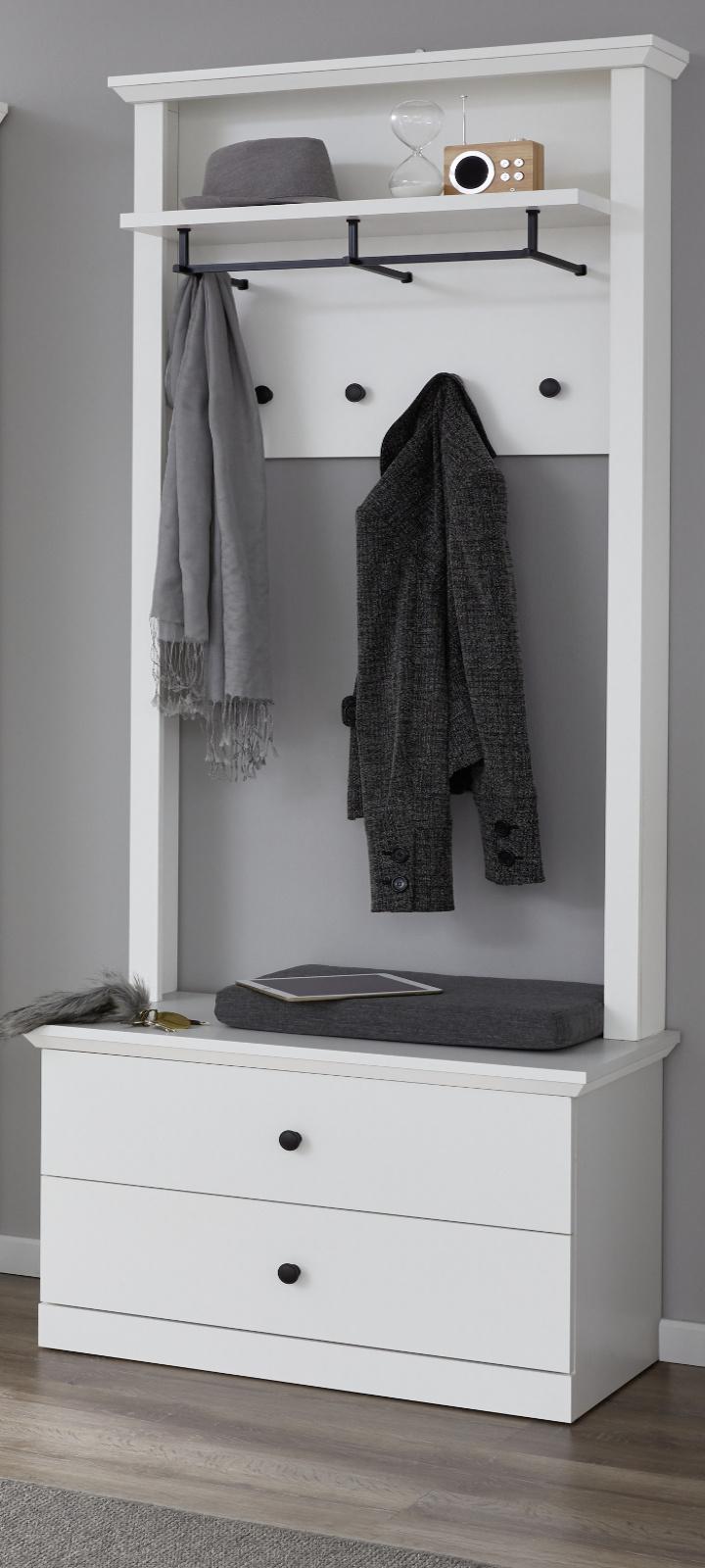 garderobenset baxter in wei 2 teilig. Black Bedroom Furniture Sets. Home Design Ideas
