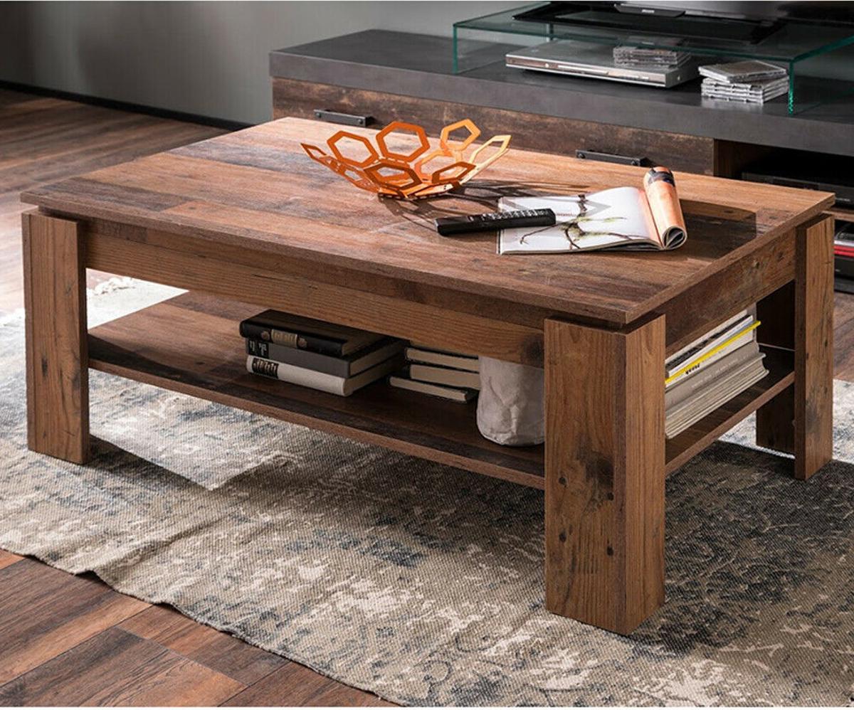 couchtisch wohnzimmer beistelltisch ablage shabby vintage design used wood indy ebay. Black Bedroom Furniture Sets. Home Design Ideas