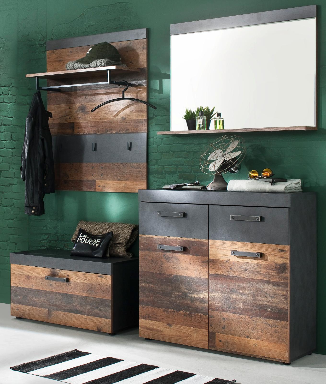 Garderobe Indy 4 Teilig In Used Wood Shabby Mit Matera Grau Garderobenset Mit Schuhbank Und Kommode 185 X 192 Cm