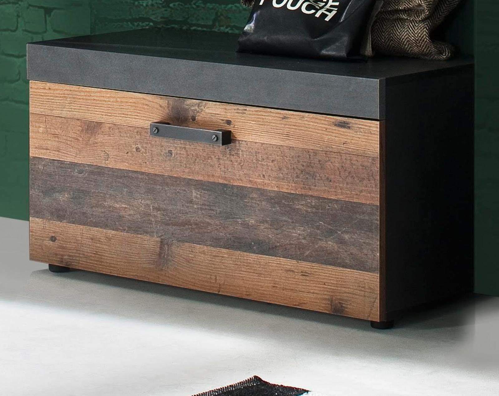 Garderobe Indy Sitzbank in Used Wood Shabby mit Matera grau Schuhbank  Garderobenbank 80 x 45 cm