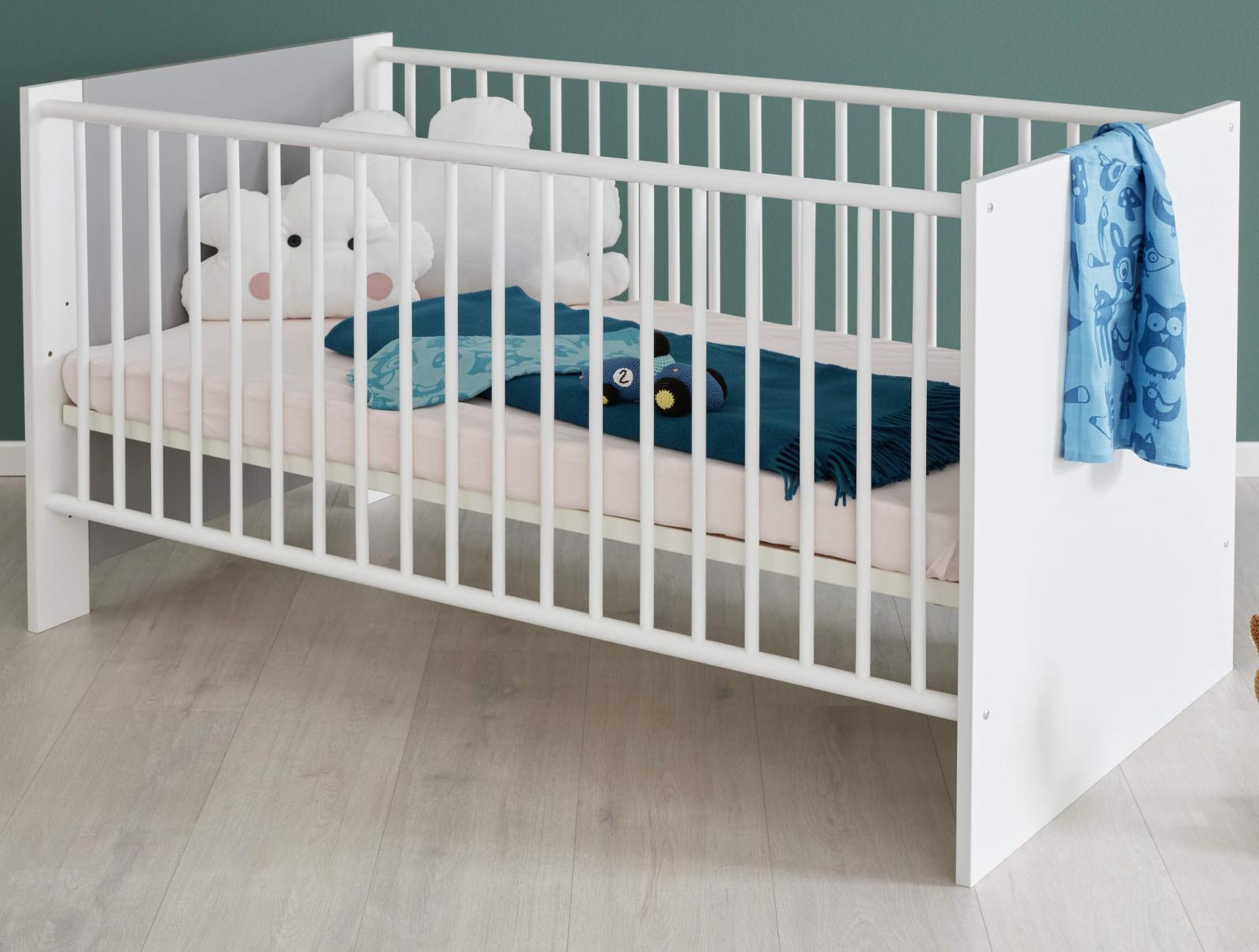 babybett wilson wei und grau 70 x 140 cm. Black Bedroom Furniture Sets. Home Design Ideas