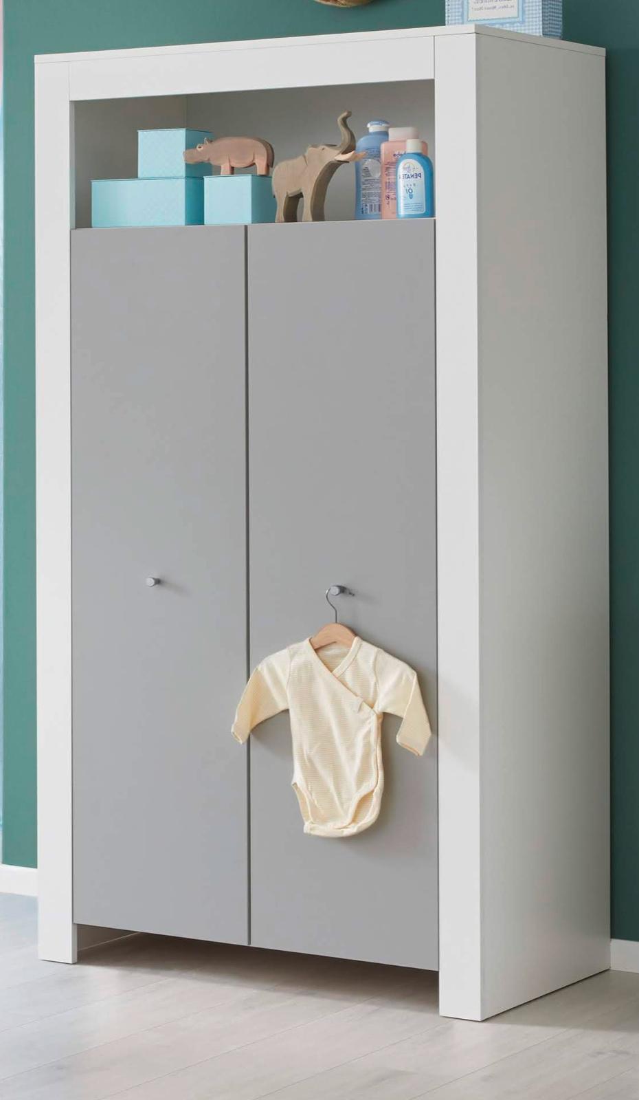 Details Zu Kleiderschrank Weiß Lichtgrau 2 Türig Kinder Baby Zimmer Schrank Möbel Wilson Gs