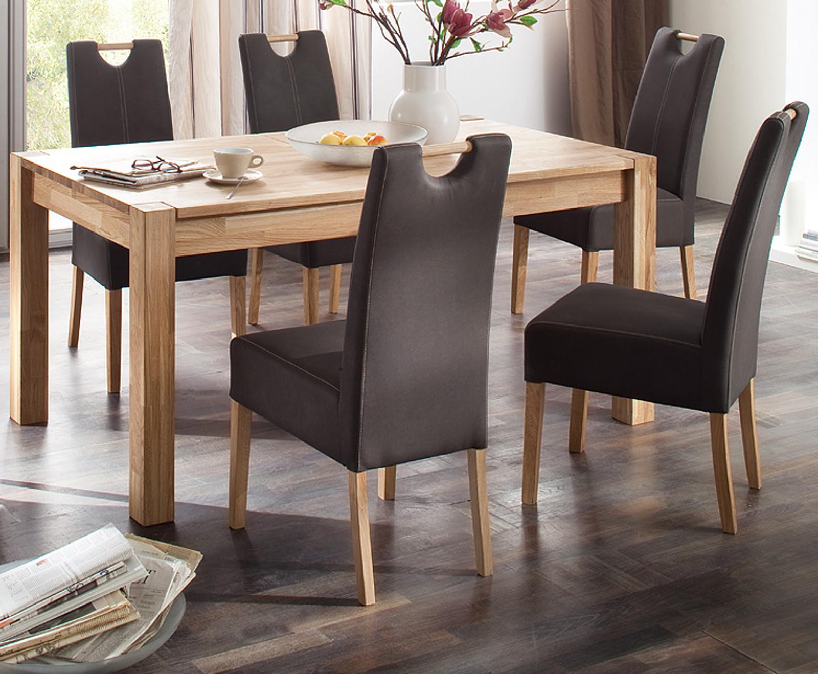 esstisch peter in wildeiche massiv 140 cm ausziehbar. Black Bedroom Furniture Sets. Home Design Ideas