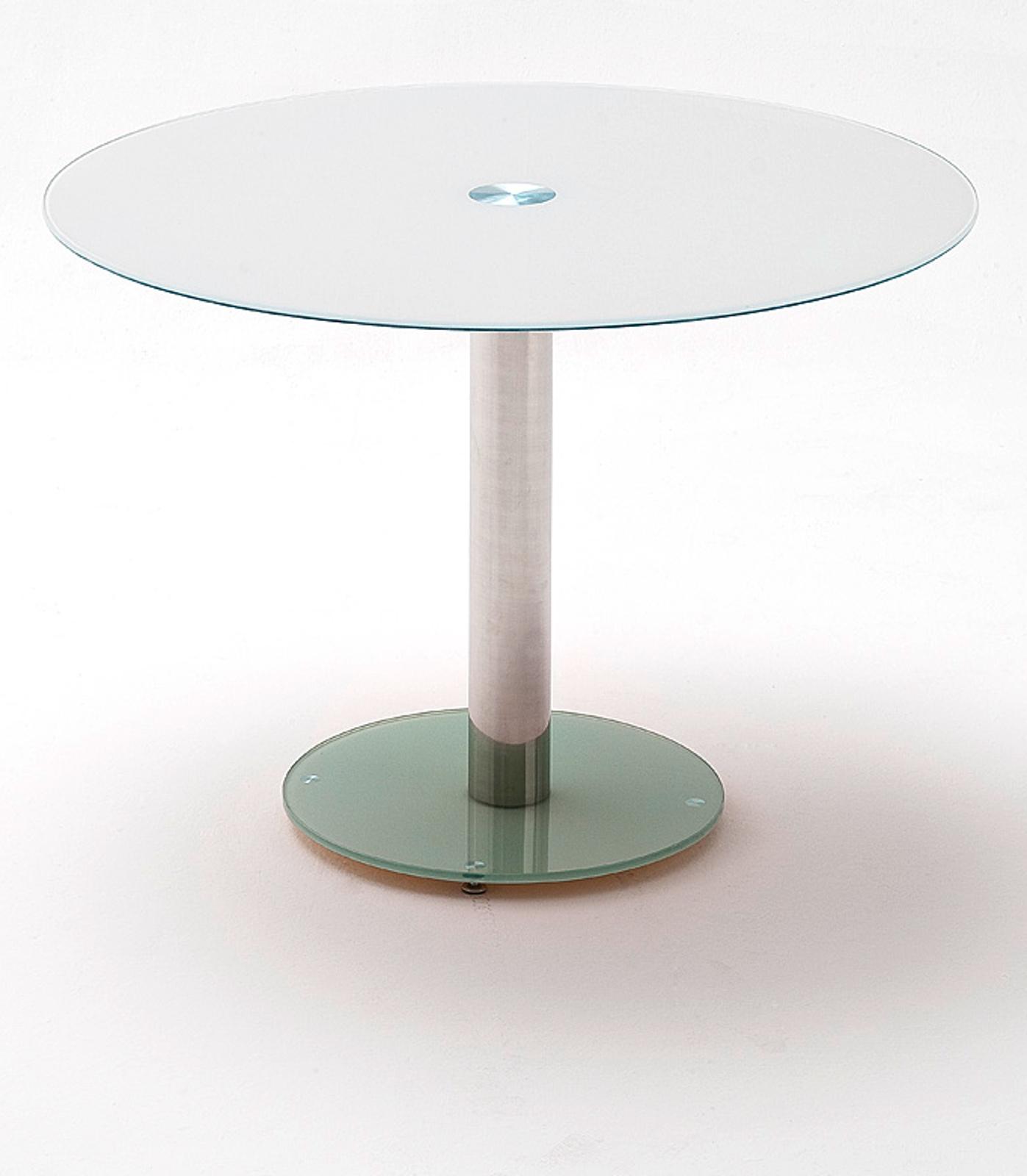 Esstisch Falko in weiß Glastisch rund 9 cm Durchmesser Küchentisch  Säulentisch