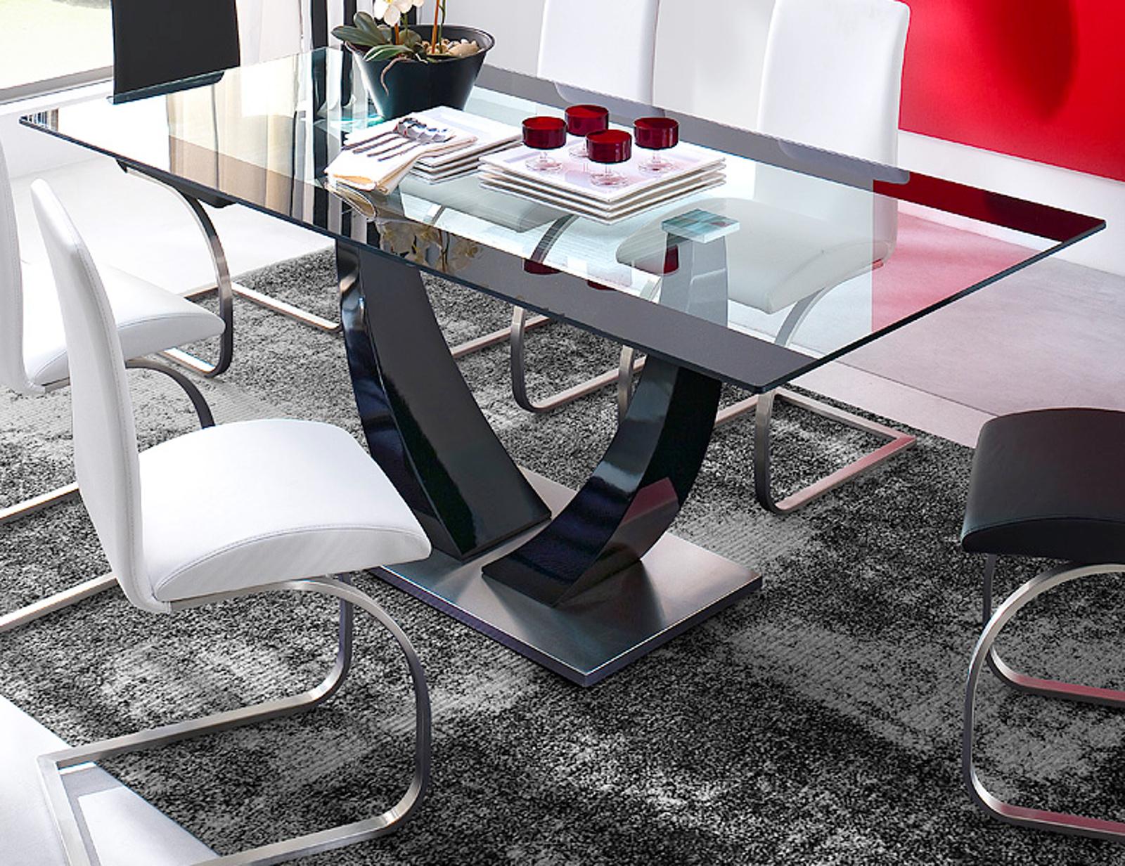 esstisch schwarz lack, esstisch tavolo in schwarz lack glastisch 200 cm, Design ideen
