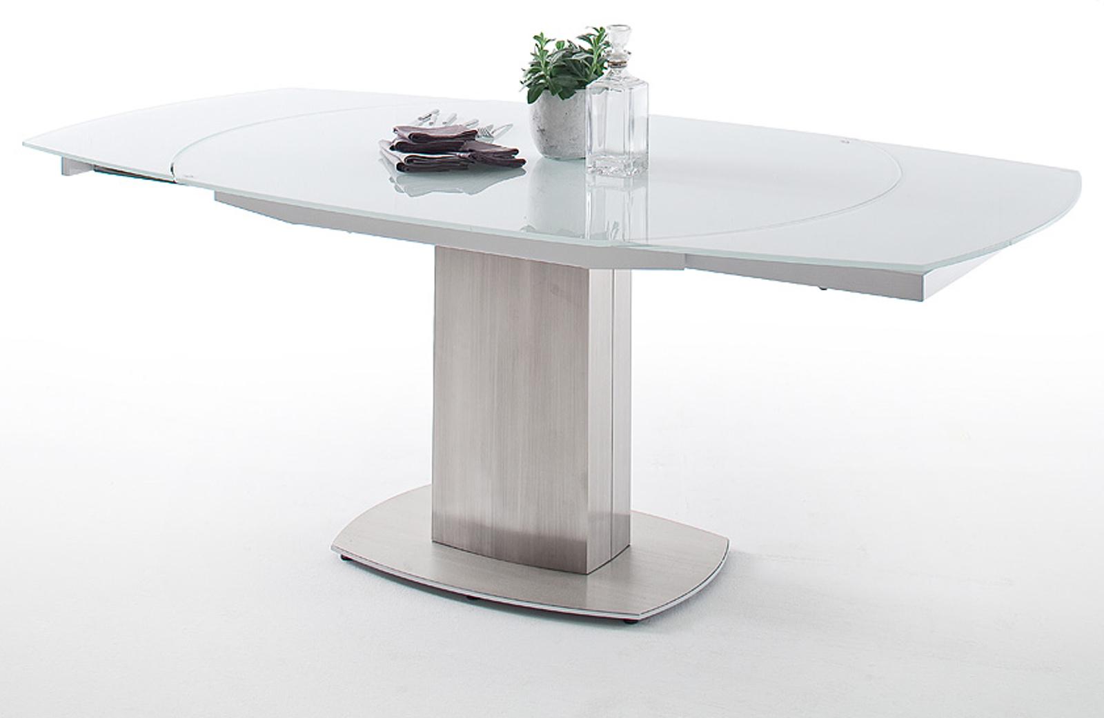 Esstisch zelder glastisch mit edelstahl 130 cm for Ausziehbarer esstisch glas