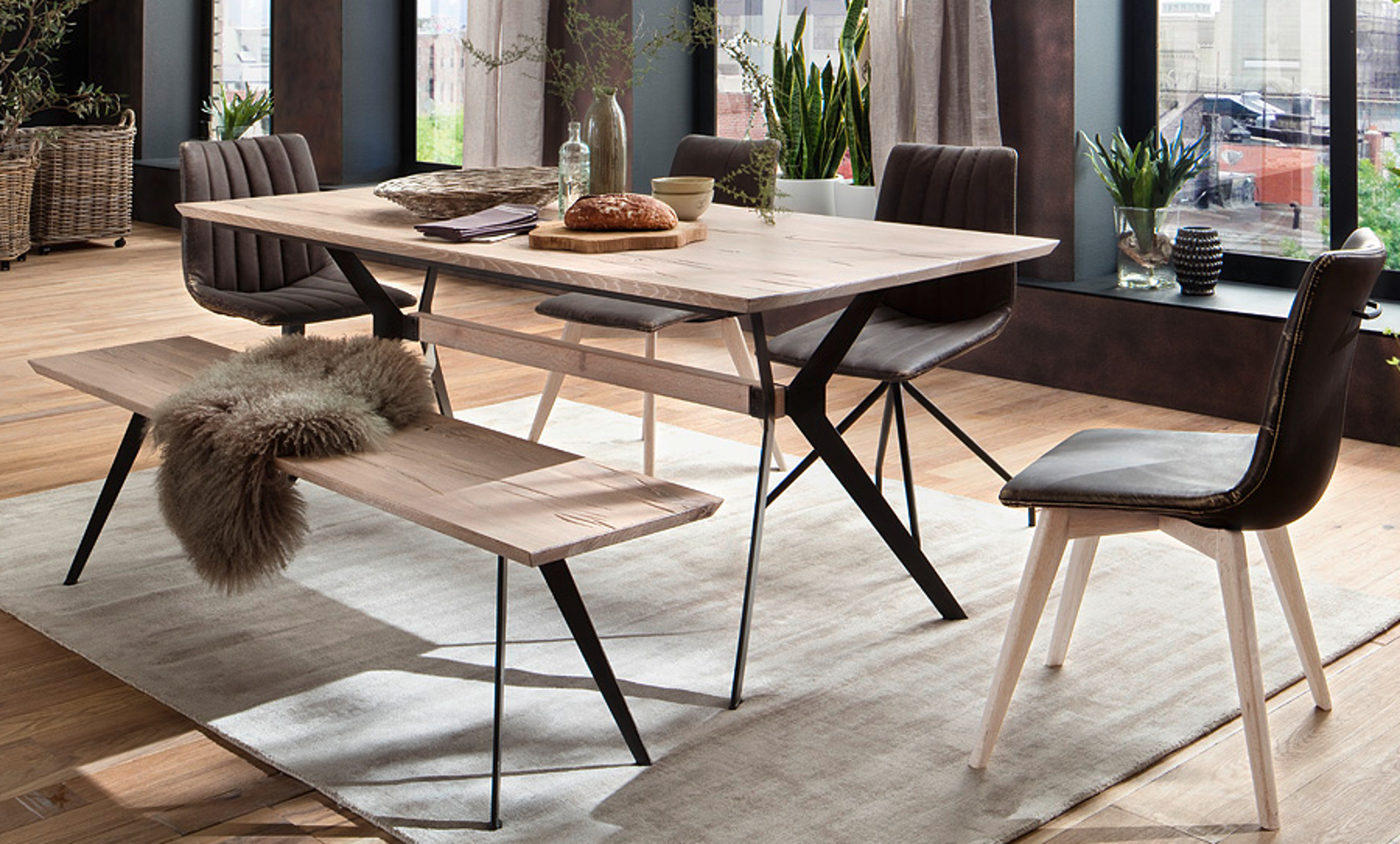 esstisch kito eiche gek lkt 180 cm. Black Bedroom Furniture Sets. Home Design Ideas