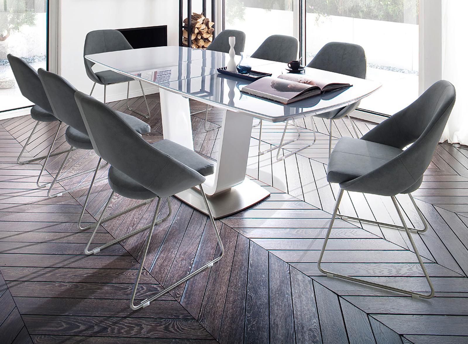 esstisch xander in hochglanz wei lack und grau 180 cm. Black Bedroom Furniture Sets. Home Design Ideas