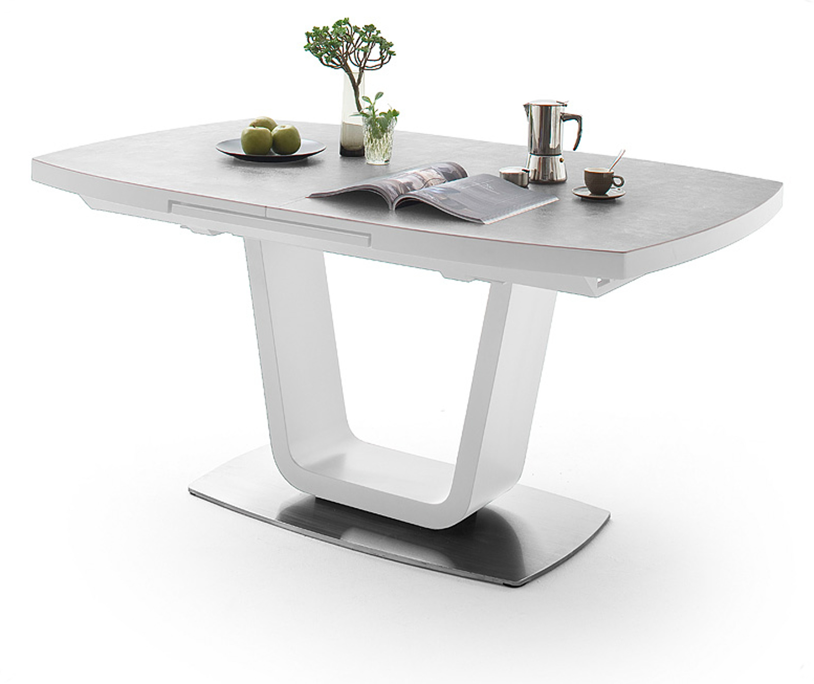 esstisch leandro wei lack keramik grau 140 cm. Black Bedroom Furniture Sets. Home Design Ideas