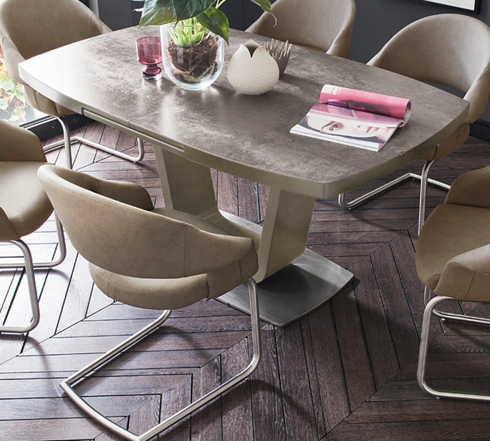 esstisch leandro taupe lack keramik taupe 180 cm. Black Bedroom Furniture Sets. Home Design Ideas
