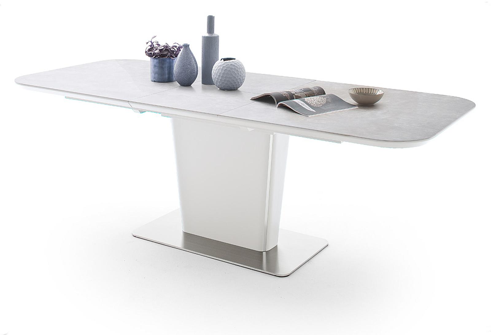 esstisch koami wei lack keramik grau 140 cm. Black Bedroom Furniture Sets. Home Design Ideas
