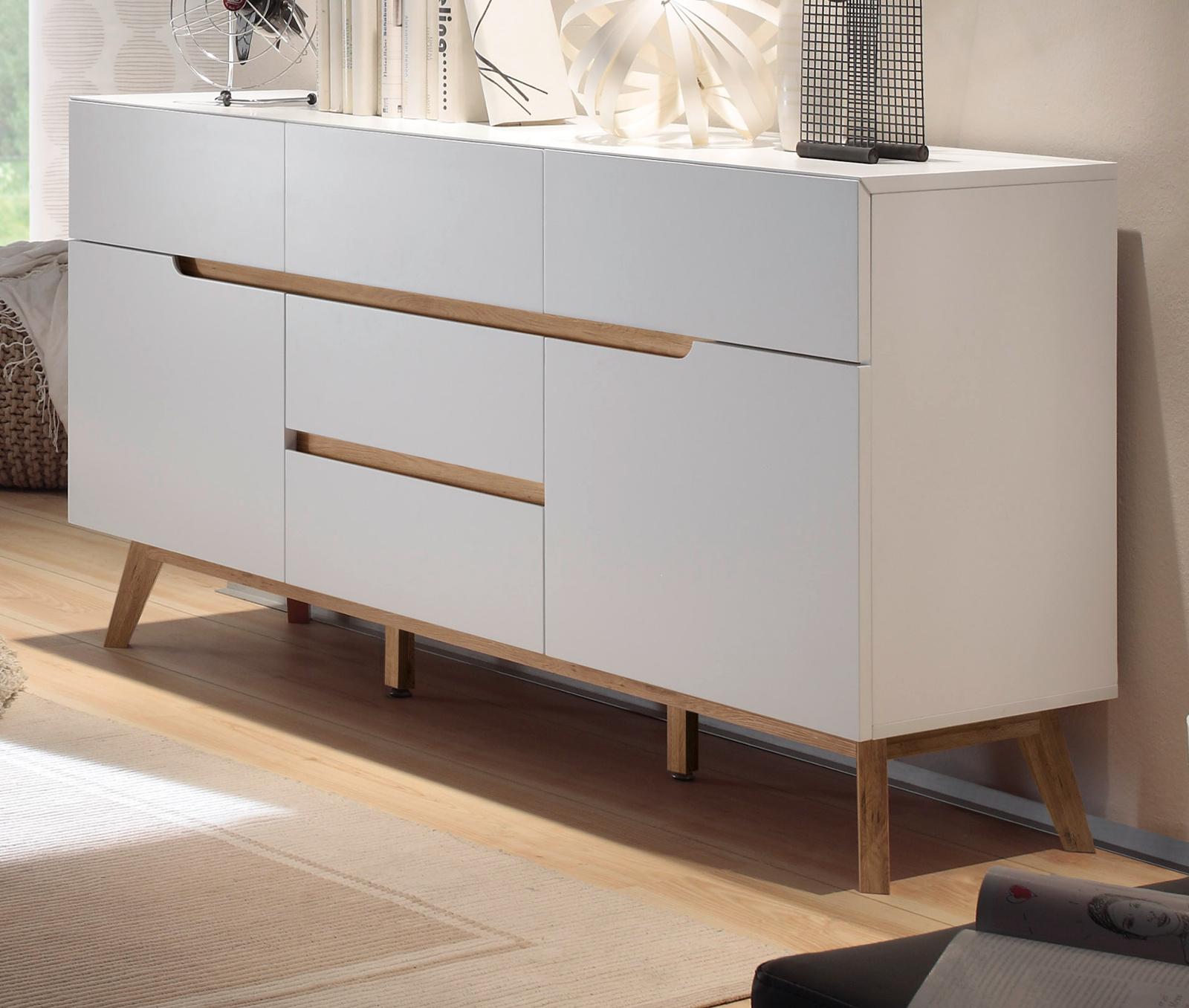 sideboard cervo matt wei lack und asteiche 145 cm. Black Bedroom Furniture Sets. Home Design Ideas