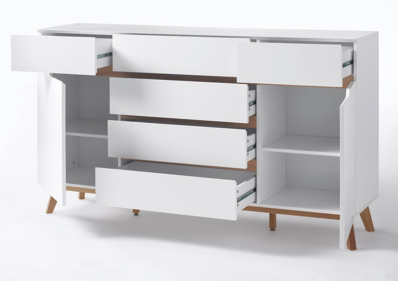 sideboard cervo matt wei lack und asteiche 169 cm. Black Bedroom Furniture Sets. Home Design Ideas