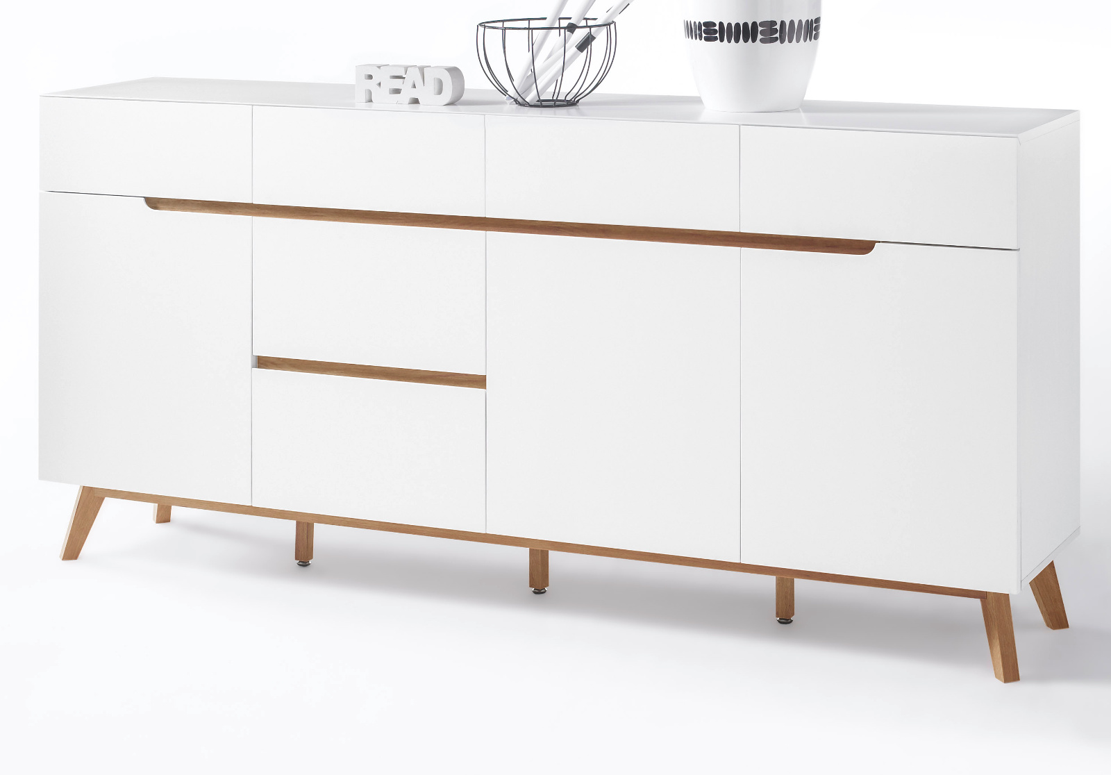 sideboard cervo matt wei lack und asteiche 193 cm. Black Bedroom Furniture Sets. Home Design Ideas