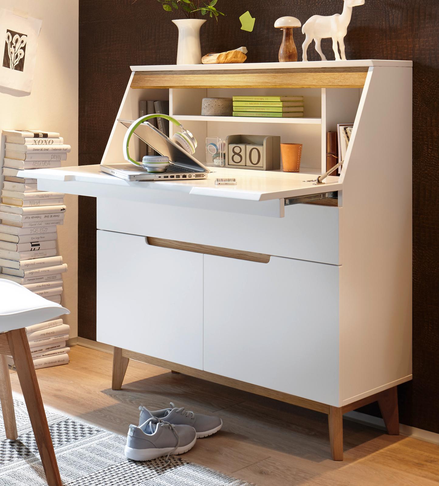 Sekretär Cervo in matt weiß echt Lack mit Asteiche massiv Schreibtisch 18 x  18 cm