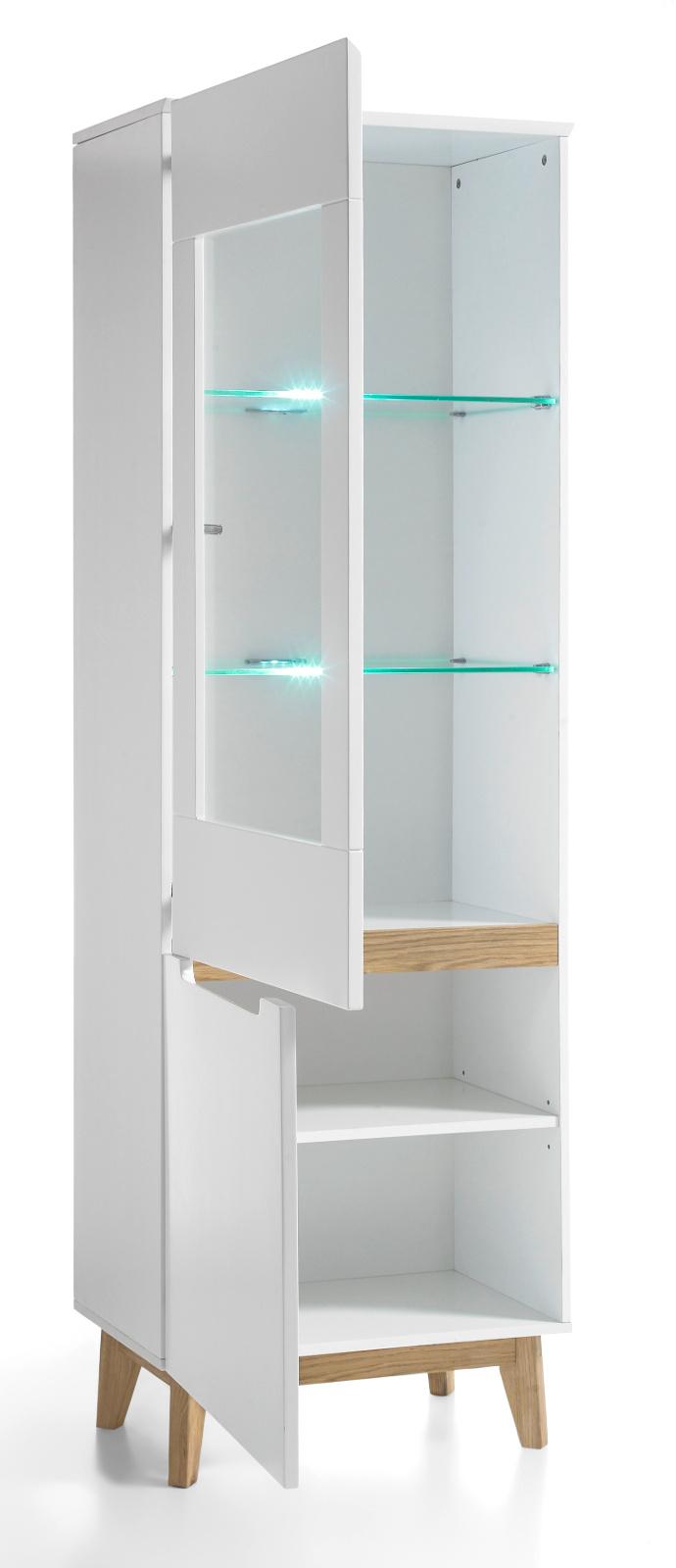 vitrine cervo matt wei lack und asteiche 59 cm links. Black Bedroom Furniture Sets. Home Design Ideas
