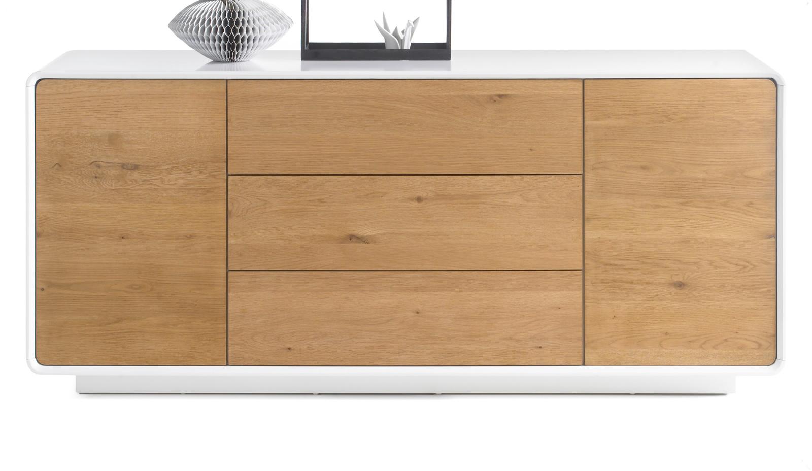 sideboard toulon matt wei lack und asteiche 170 cm. Black Bedroom Furniture Sets. Home Design Ideas