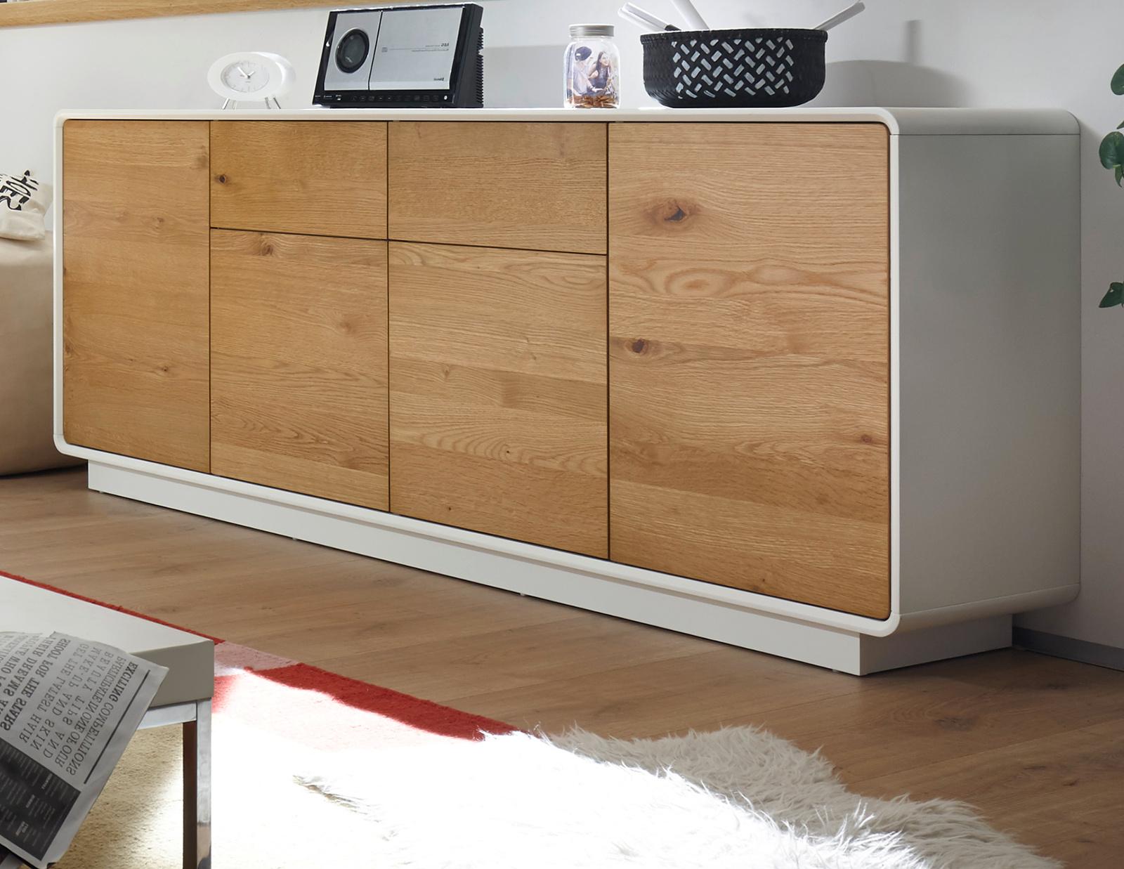 sideboard toulon matt wei lack und asteiche 188 cm. Black Bedroom Furniture Sets. Home Design Ideas