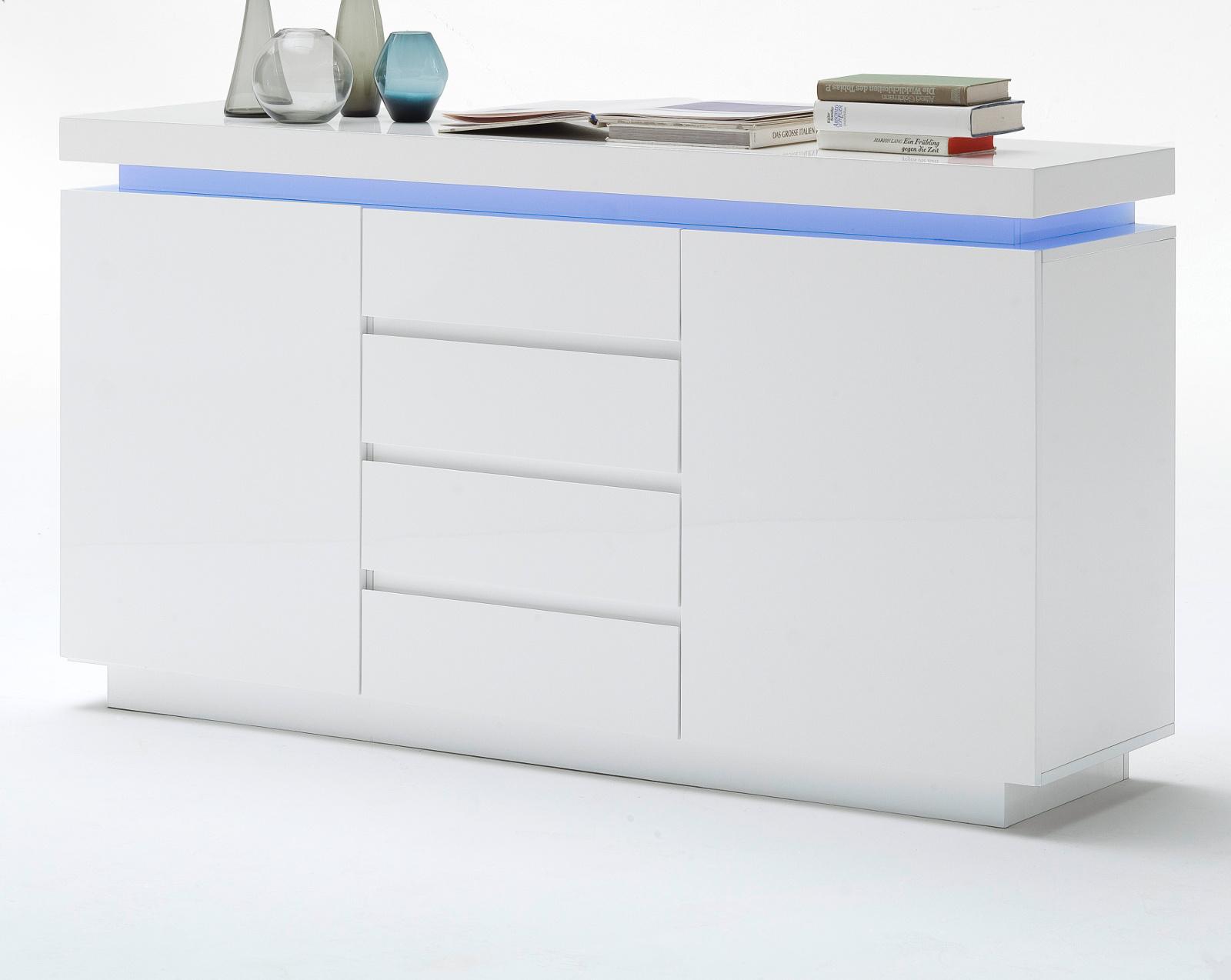 Sideboard Ocean Hochglanz Weiss Lack 150 Cm