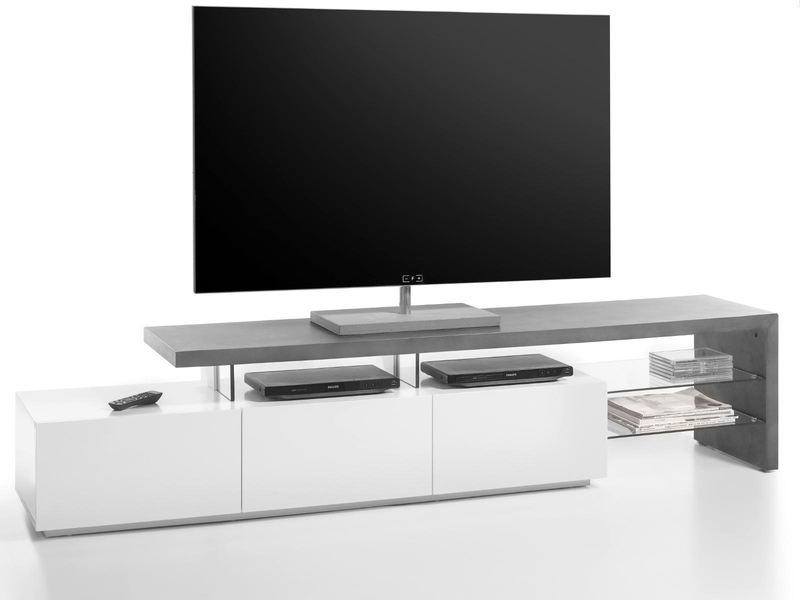 Tv Lowboard Alimos Stone Grau Und Matt Weiß 204 Cm
