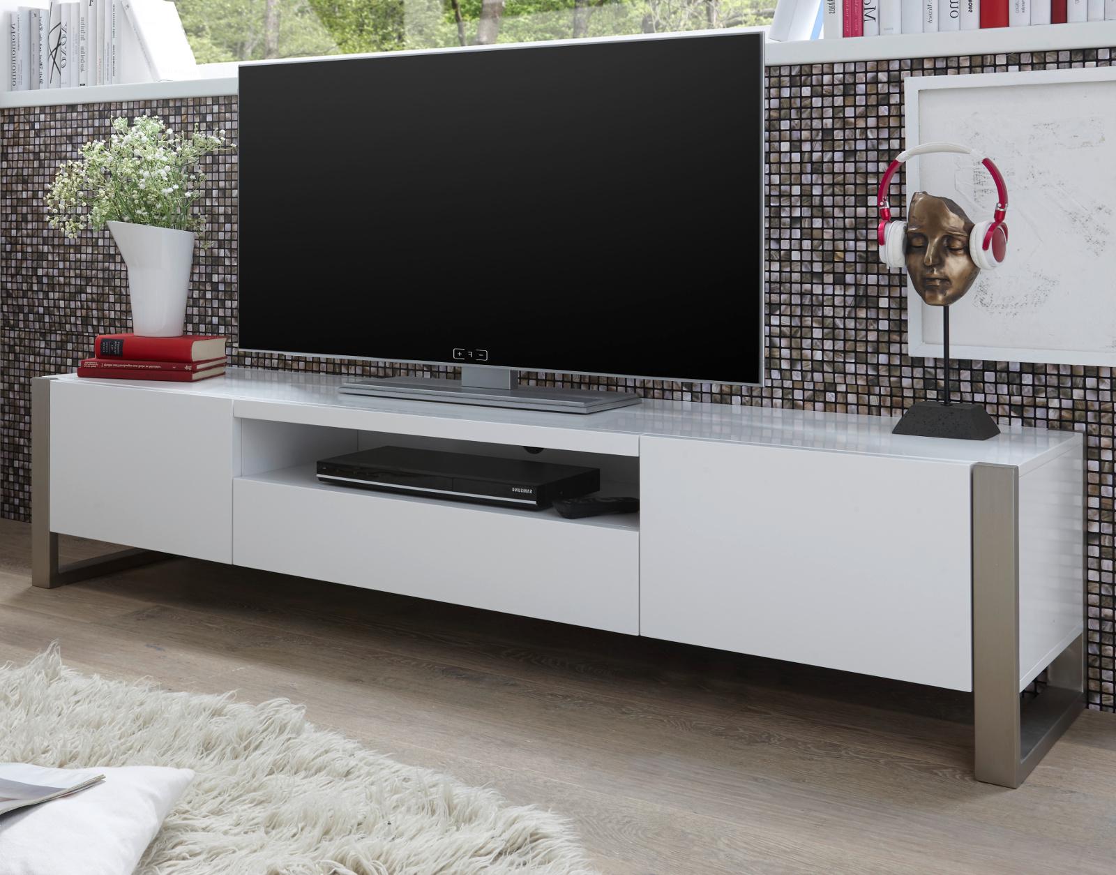 TV-Lowboard Amber weiß matt Lack 180 cm